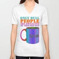 oscar wilde V-neck T-shirts featuring Oscar Wilde #5 Dull People by bravo la fourmi
