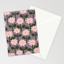 Pink Paper Cutout Flower Pattern Stationery Cards