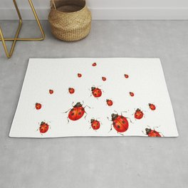 ABSTRACT RED LADY BUGS CRAWLING ON WHITE COLOR Rug