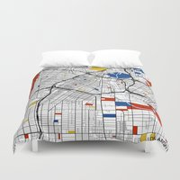 los angeles Duvet Covers featuring Los Angeles by Mondrian Maps