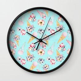Pink & Teal Summer Fun Flower Ice Cream Cone - Pattern Wall Clock