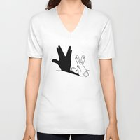 novelty V-neck T-shirts featuring Rabbit Trek Hand Shadow by Mobii