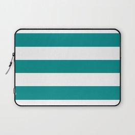 Dark cyan - solid color - white stripes pattern Laptop Sleeve