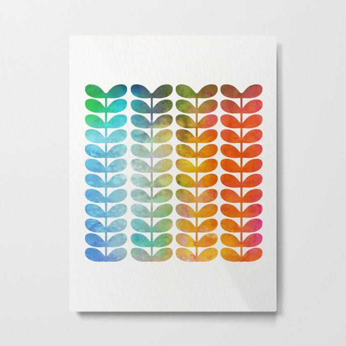 Colorful Leaves from Blue to Orange Metal Print