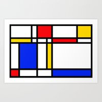 mondrian Art Prints featuring Mondrian by The Wellington Boot