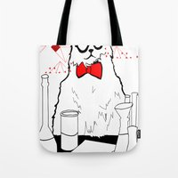 chemistry Tote Bags featuring Chemistry Cat by MAKE ME SOME ART
