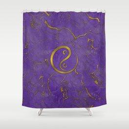 Golden Embossed Yin yangsymbol  on purple Shower Curtain