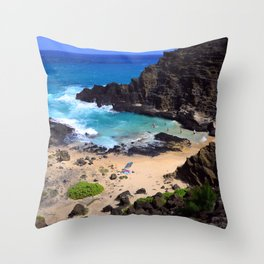 """Forbidden, """"NO TRESPASSING"""" Beach in Oahu, Hawaii Throw Pillow"""