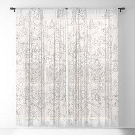 Yoga Manuscript Sheer Curtain