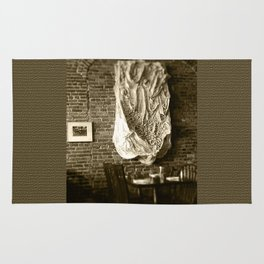 Farmer's Cafe Brick Wall and Draped Wall Hanging Vintage Style Black and White Photograph Rug