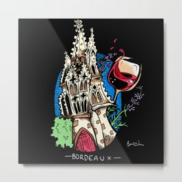 Wine and Churches in Bordeaux Metal Print