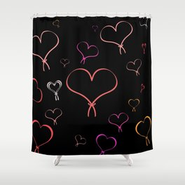 Neon Heartbeat Shower Curtain