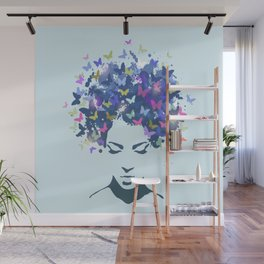 Woman with the hair made of butterflies Wall Mural