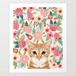 Tabby Cat florals cute spring garden kitten orange tabby cat lady funny girly cat art pet gifts  Art Print