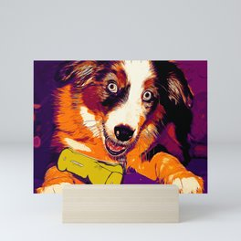 australian shepherd aussie dog puppy vector art late sunset Mini Art Print
