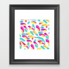 Modern abstract pink turquoise yellow brushstrokes pattern Framed Art Print