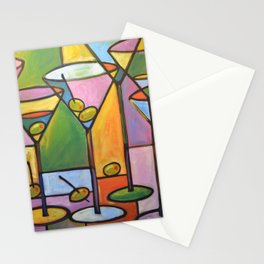 Abstract Art Wine Bar Alcohol Painting ... Martinis and Olives Stationery Cards