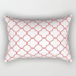 Quatrefoil (Salmon & White Pattern) Rectangular Pillow