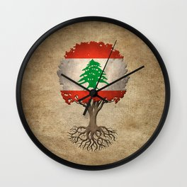 Vintage Tree of Life with Flag of Lebanon Wall Clock