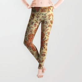 Persia Tabriz 19th Century Authentic Colorful Dusty Tan Red Blush Vintage Patterns Leggings