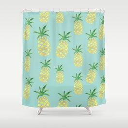 Pineapples Print (Mint) Shower Curtain