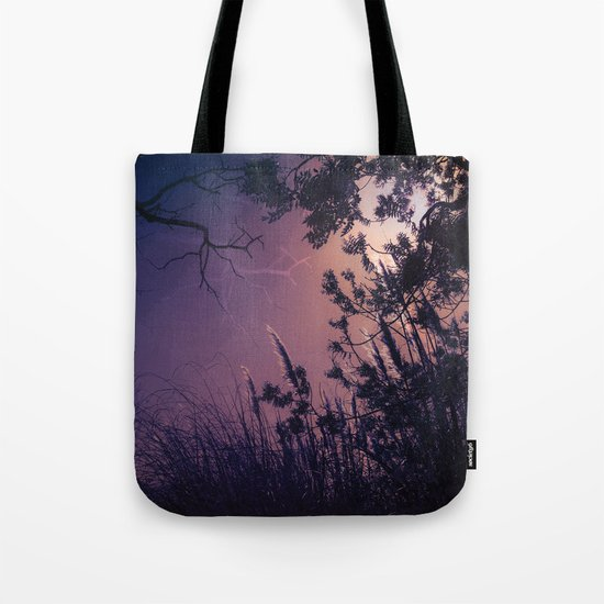 Moonlight Sonata (Tree and Reed Plant Silhouette) Tote Bag