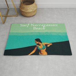Surf Narragansett Beach, Rhode Island Vintage Surfing Big Swell Poster - New England Surfers Rug