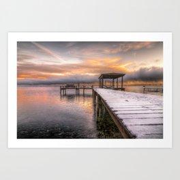 winter dock Art Print
