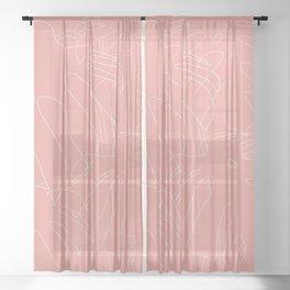 Monstera No2 Pink Sheer Curtain