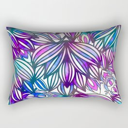 Hand painted neon pink teal blue watercolor floral Rectangular Pillow