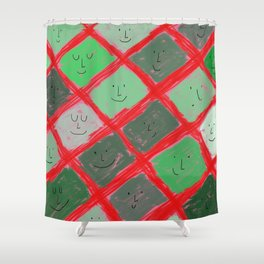 Cute pattern with smiling faces Shower Curtain