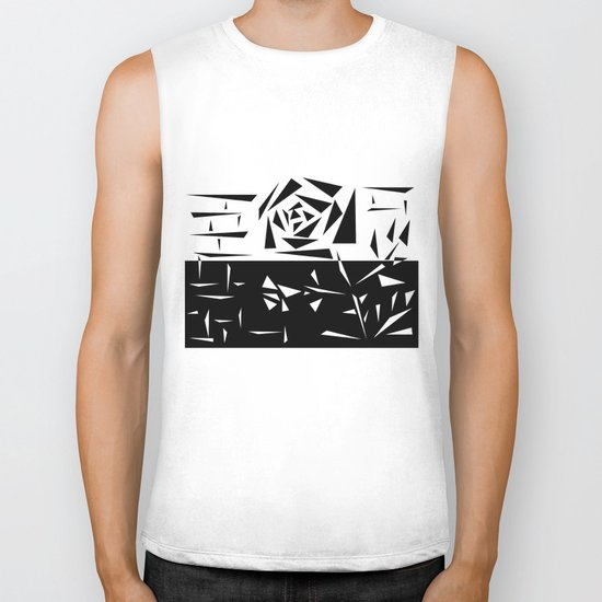 Abstract rose. black and white . 1 Biker Tank