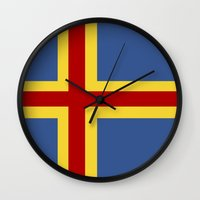 finland Wall Clocks featuring aaland country flag finland by tony tudor