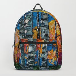 Colorado Aspen Grove Palette Knife Painting  Backpack
