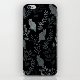 Watercolor Floral and Cat III iPhone Skin