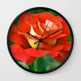 Pretty Red Rose Bloomed Wall Clock