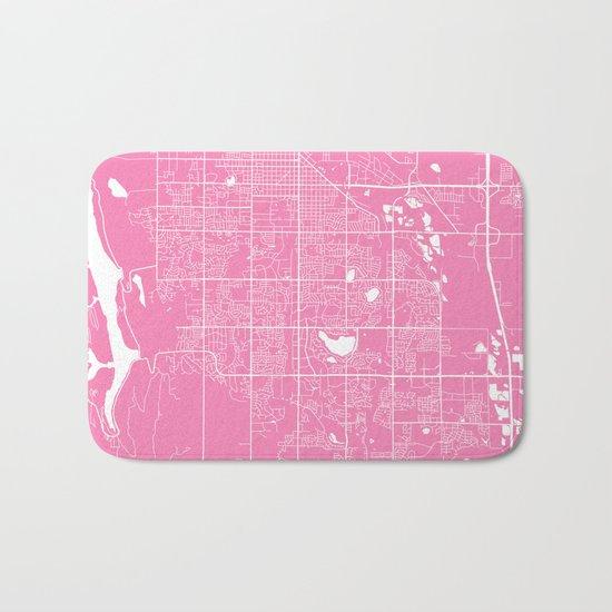 Fort Collins map pink Bath Mat