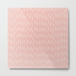 Festive, Boho Prints, Raindrops, Pink, Minimalism, Abstract Art Metal Print