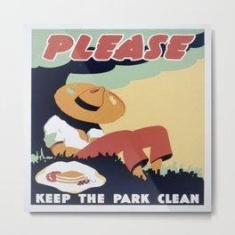 Vintage poster - Please Keep the Park Clean Metal Print
