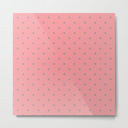 Grey Dots with Coral Pink Background Metal Print