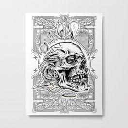 Skullflower Black and White  Metal Print