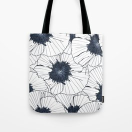 Navy and white poppies Tote Bag