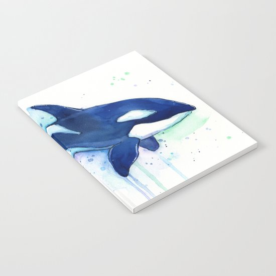 Killer Whale Orca Watercolor Painting Animal Art Notebook