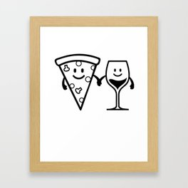 Pizza With Wine Glass Gift For Pizza Lover Framed Art Print