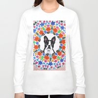 boston terrier Long Sleeve T-shirts featuring Boston Terrier  by Lorraine Stylianou