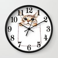 pocket fuel Wall Clocks featuring Pocket cat by Anna Shell