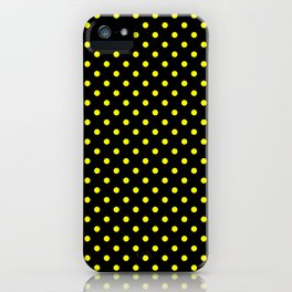 Polka dots Yellow dots over black iPhone Case