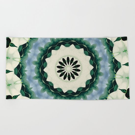 Cerulean Blue and Sacramento Green Mandala Beach Towel