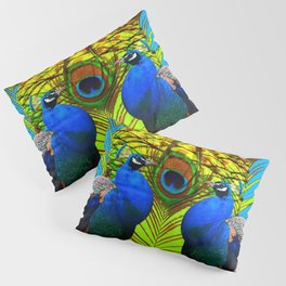 BLUE-GREEN PEACOCKS & LIME FEATHERS ART Pillow Sham