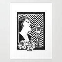 Lady Day (Billie Holiday block print blk) Art Print